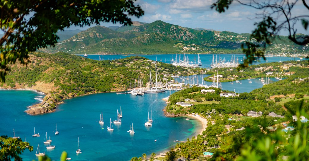 View of marinas from Shirley Heights in Antigua