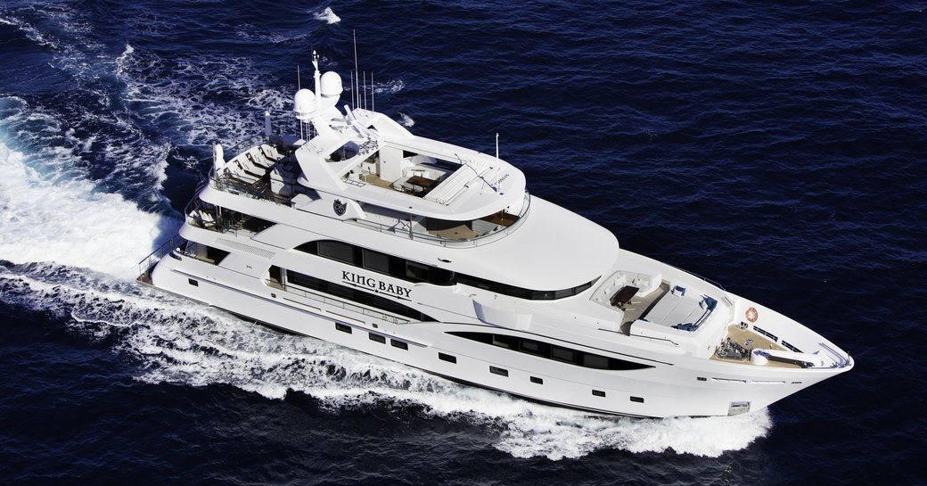 superyacht 'King Baby' cruising for charter in the Caribbean