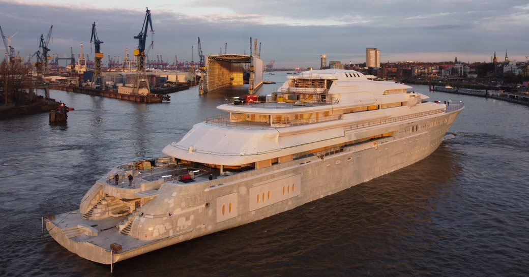 Superyacht Lurssen's Project Opera at Blohm and Voss shipyard