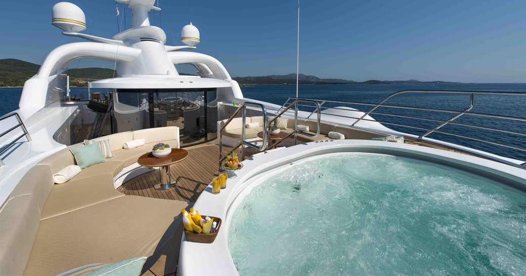 The Jacuzzi on the sundeck of Benneti superyacht 'Mine Games'