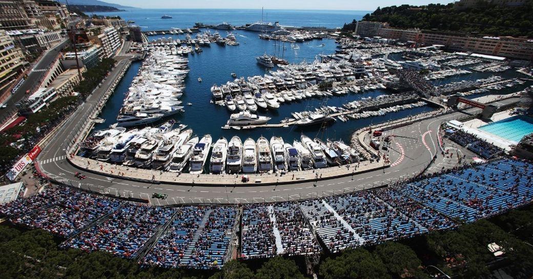 aerial view of Port Hercules at the Monaco Grand Prix