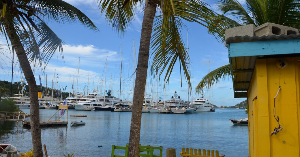 superyachts lined up for the Antigua Charter Yacht Show