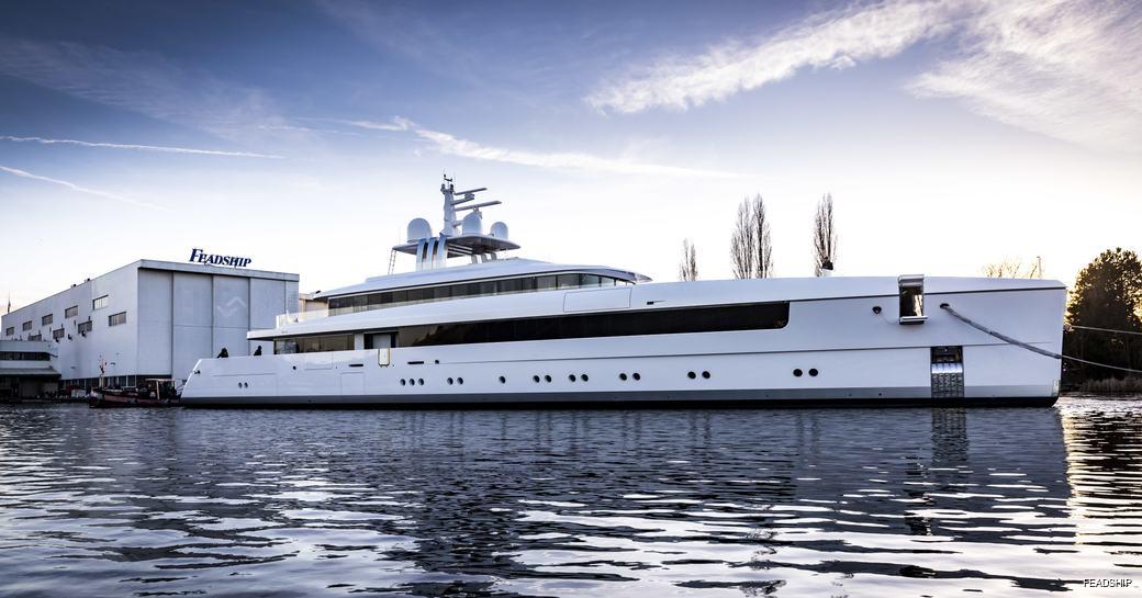 Feadship superyacht NAJIBA launches from the yard's Aalsmeer facilities