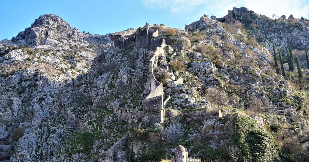 Winding steps up to St John's Fortress in Kotor, Montenegro