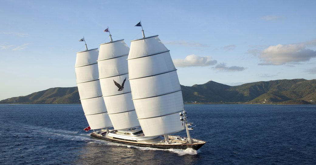 sailing yacht 'Maltese Falcon' competes at the St Barths Bucket Regatta 2017