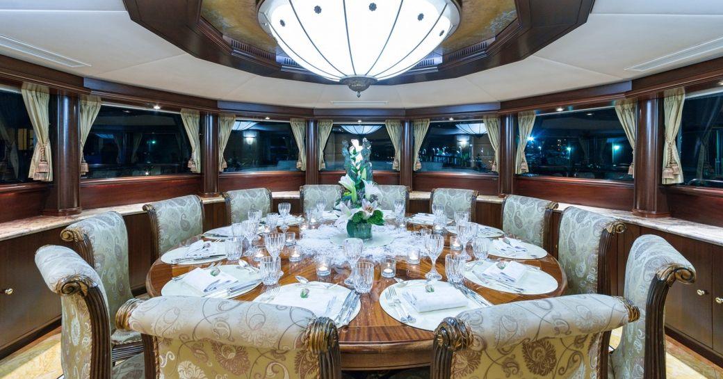 dining salon with wonderful panoramas on board charter yacht STARSHIP