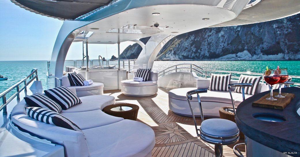 Sundeck area onboard MY Alalya