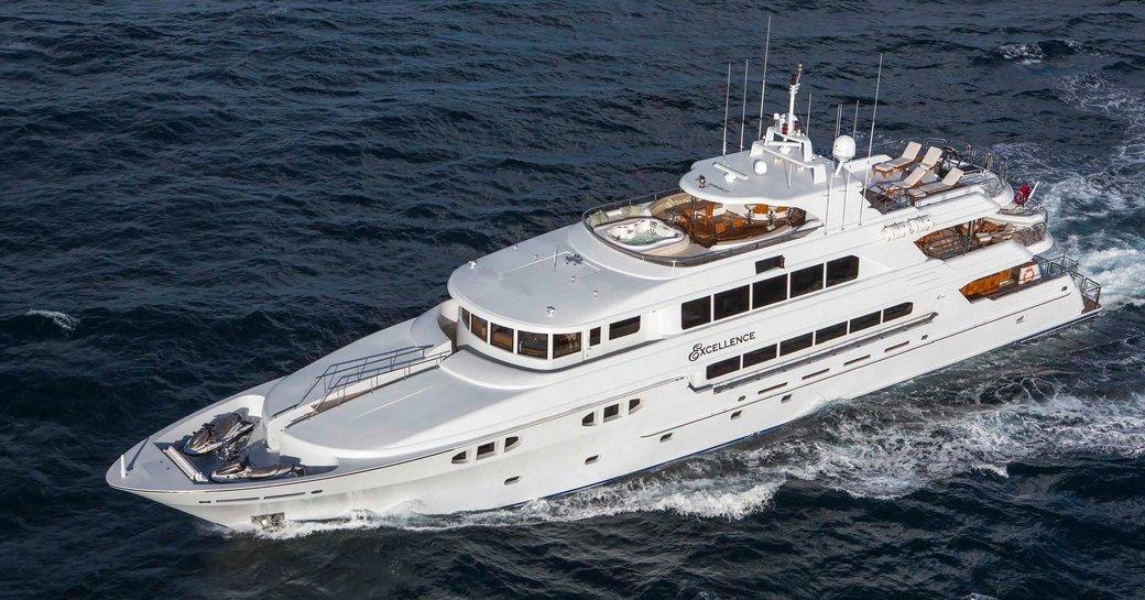 superyacht EXCELLENCE cruising on a Caribbean yacht charter