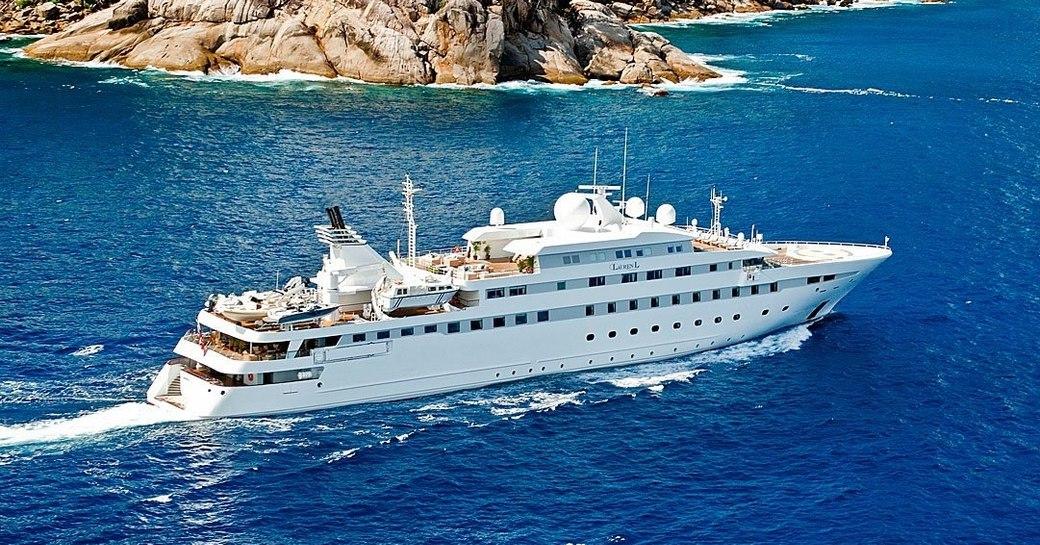 superyacht 'Lauren L' cruising for charter in the Mediterranean