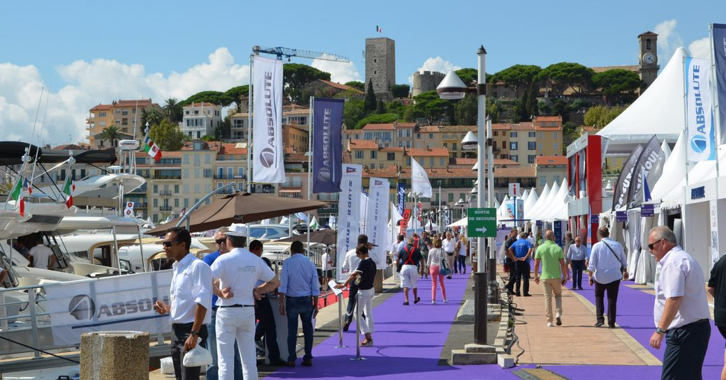 People on Cannes harbour at Cannes Yachting Festival
