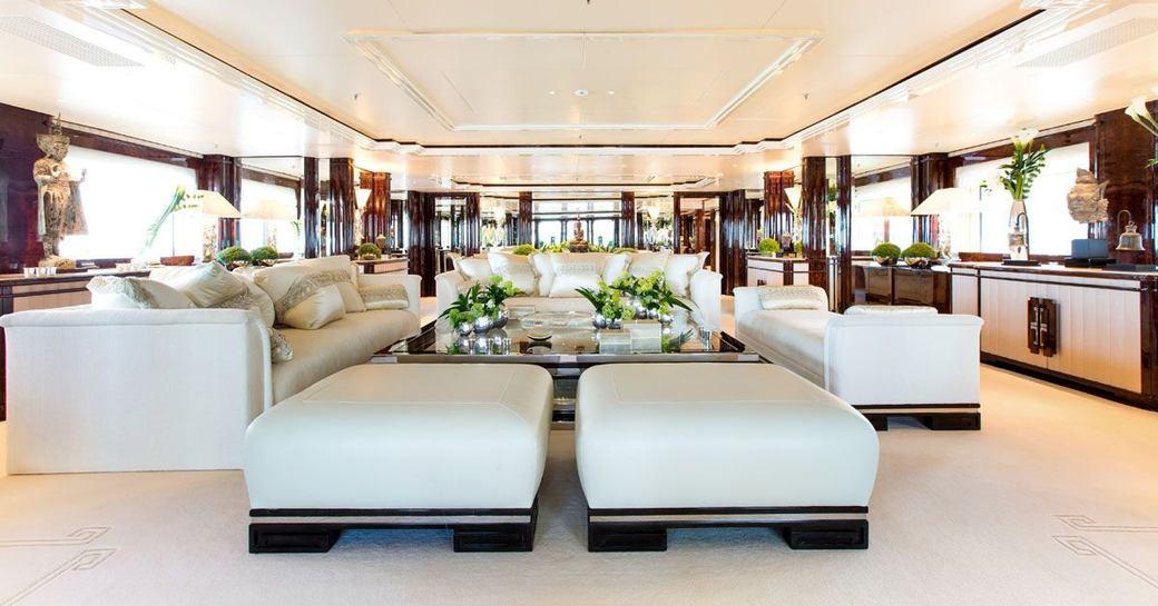 Main salon onboard Lioness V