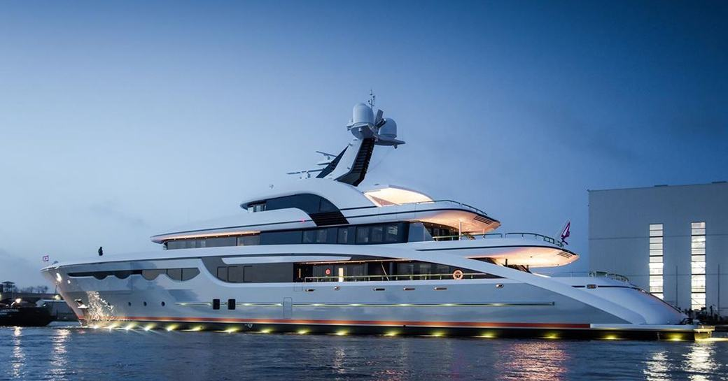 superyacht SOARING by abeking and rasmussen berthed in a marina while on her luxury charter in the Mediterranean