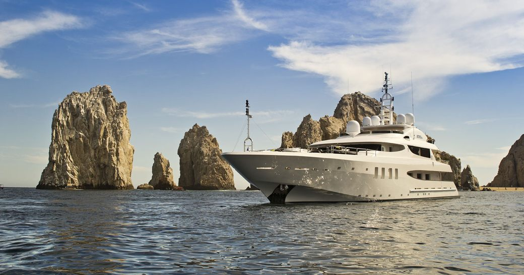 motor yacht Azteca II anchored in Mexico on a luxury yacht charter