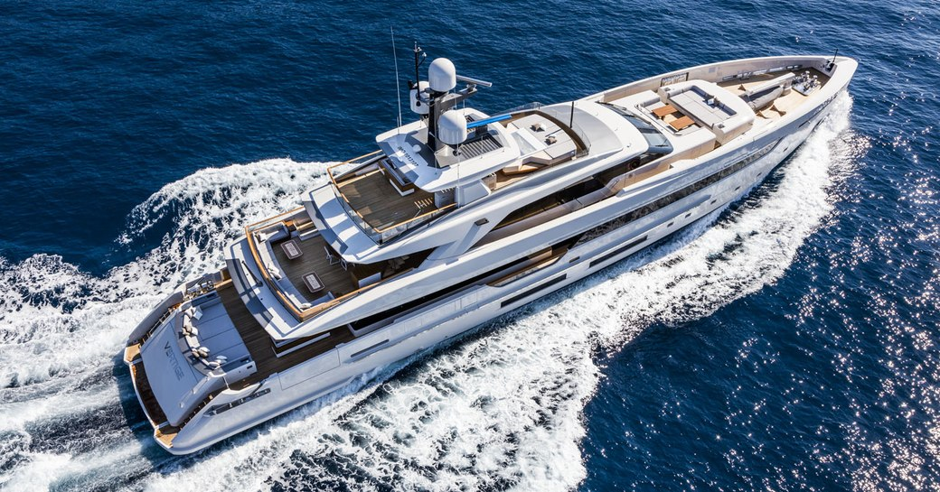 An aerial image of superyacht cruising