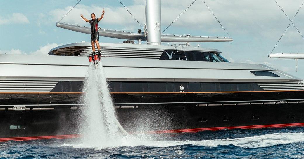 Flyboard user onboard SY Maltese Falcon