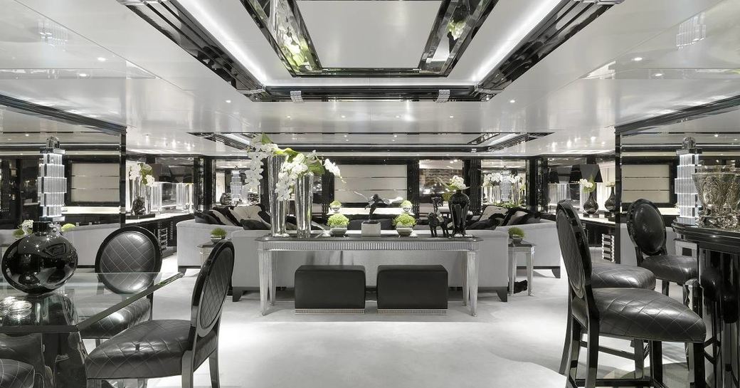 glittering monochrome salon aboard superyacht Silver Angel