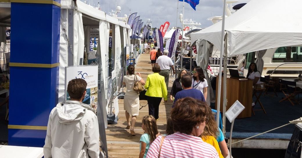 show attendees take to the boardwalks at the Palm Beach Boat Show 2017