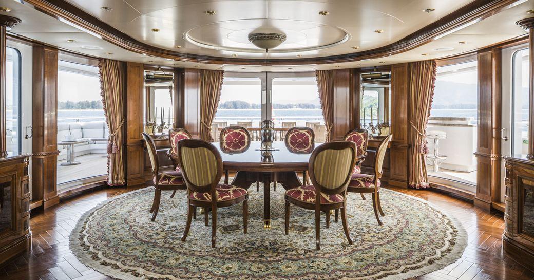 semi-alfresco bridge deck dining area aboard superyacht TITANIA