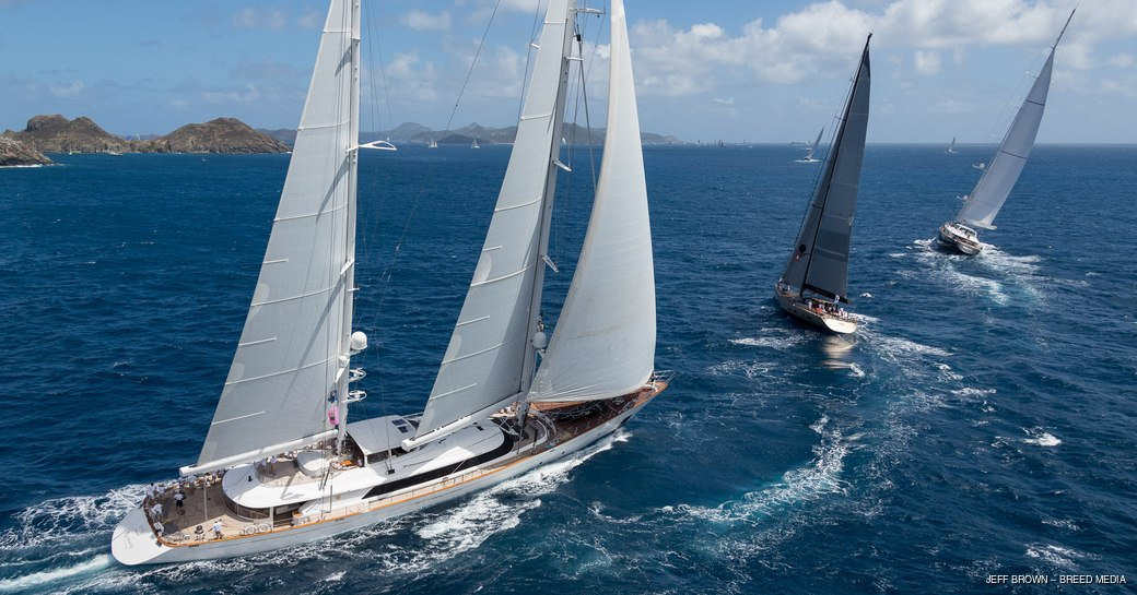 sailing yacht ROSEHEARTY cuts through the water at St Barths Bucket 2017