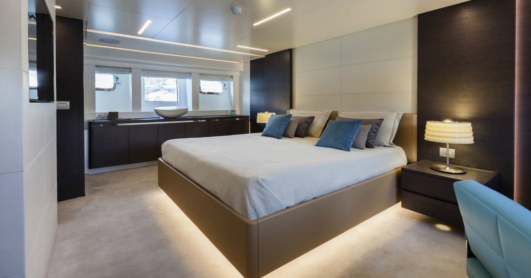 Double bed in cabin on superyacht 55 FIFTYFIVE