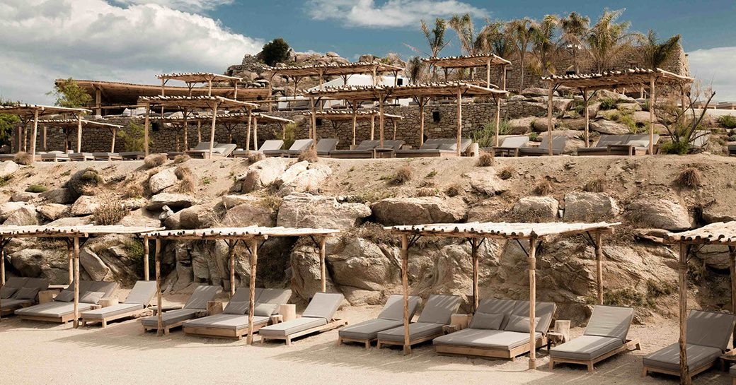 Scorpios beach club in Mykonos, Greece