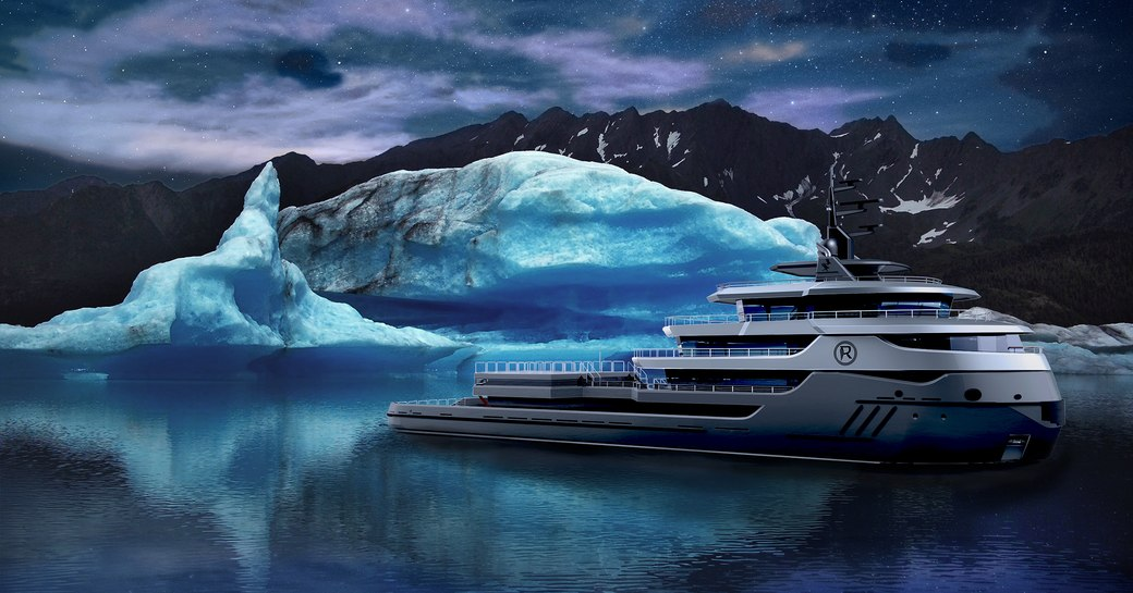 Explorer yacht RAGNAR in front  of iceberg with starry night sky and hills behind