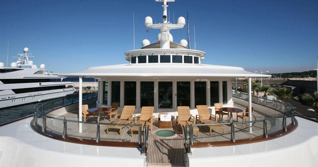 sun loungers line up on the Portuguese bridge aboard motor yacht TATOOSH