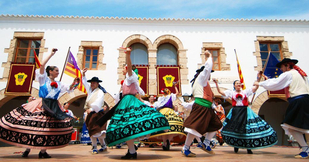 Historical old Spanish dance performance on Ibiza, Santa Eularia,