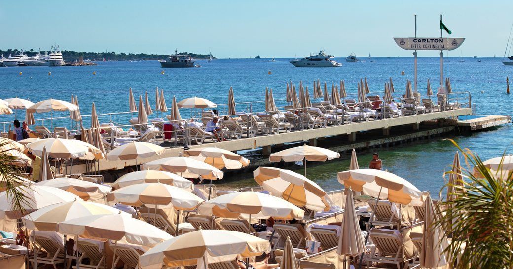 Private beachfront with parasols in Cannes, France
