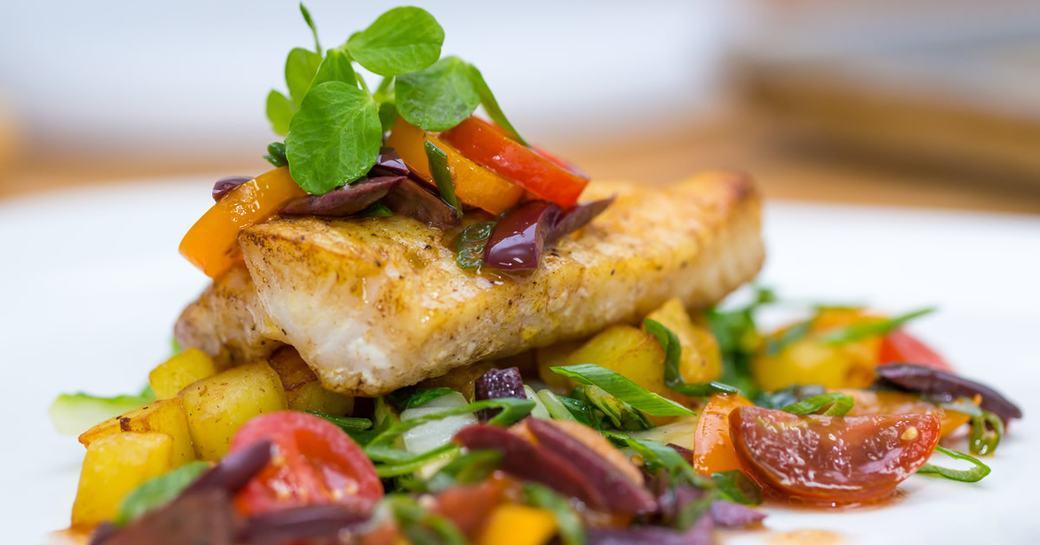 fish dish at Sabor Restaurant in the Bahamas