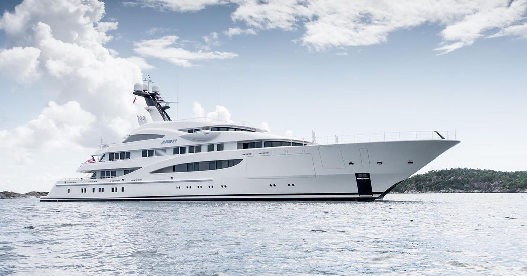 superyacht Areti anchors in the Mediterranean