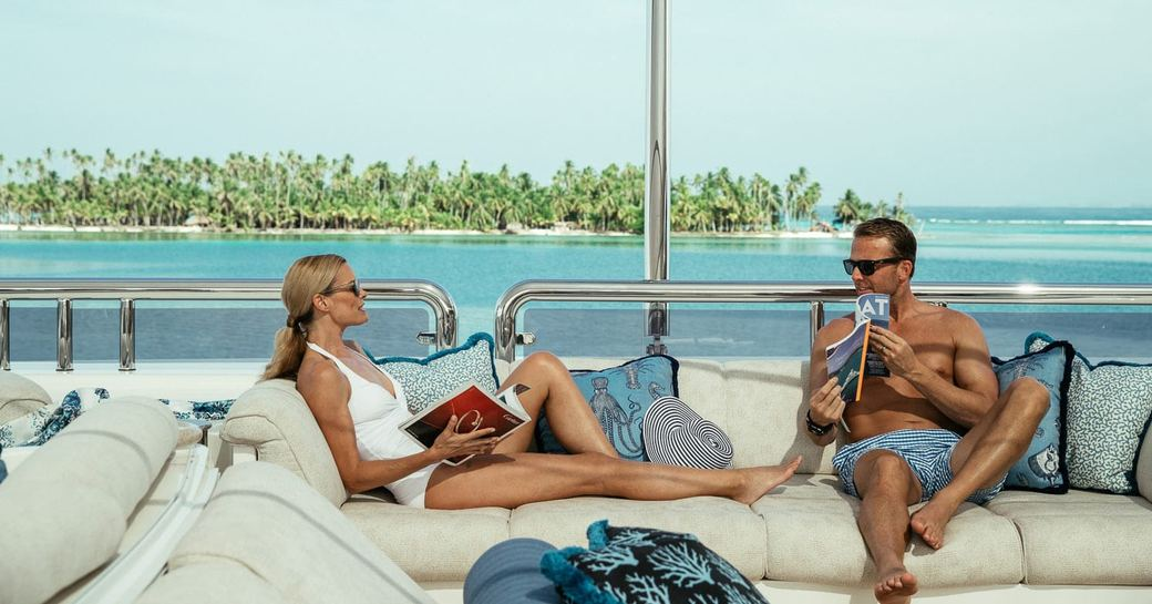 A couple enjoying themselves onboard MY Calypso