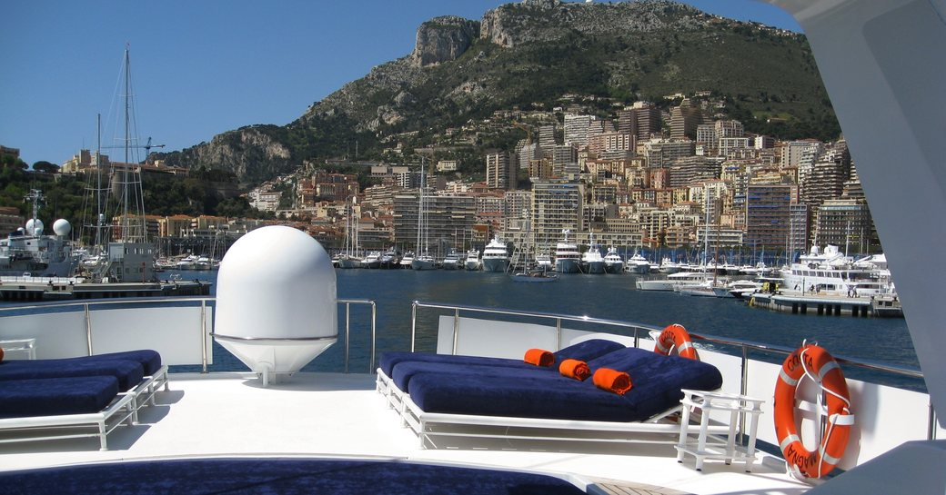 beautiful view of Monaco from the flybridge of superyacht 'Costa Magna'