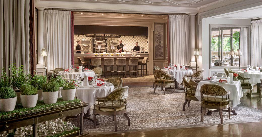 light and airy interiors of Joel Robuchon Monte-Carlo, Hotel Metropole, restaurant in Monaco