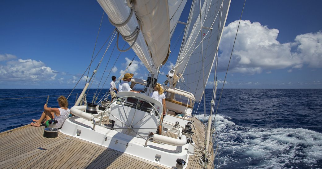 all hands on deck aboard JUPITER as she cuts through the Caribbean waters