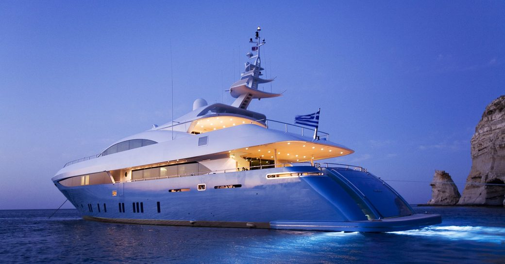 superyacht 'Barents Sea' lights up at night while docked in Greek waters