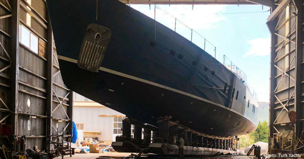 superyacht All About You leaves garage ahead of launch