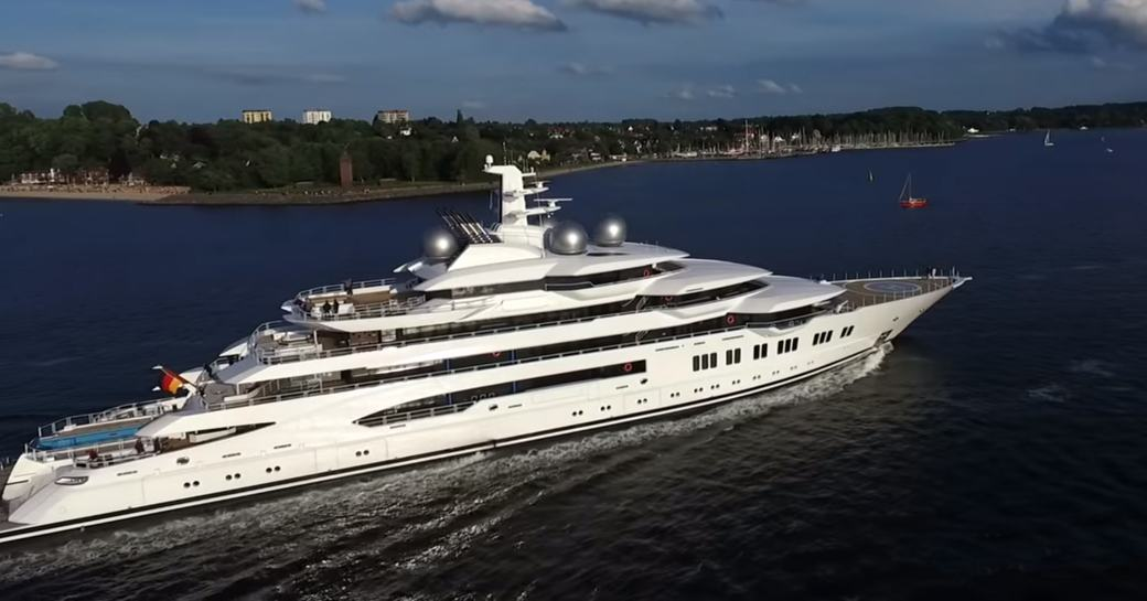 Lurssen motor yacht AMADEA,with pool clearly visible on aft deck