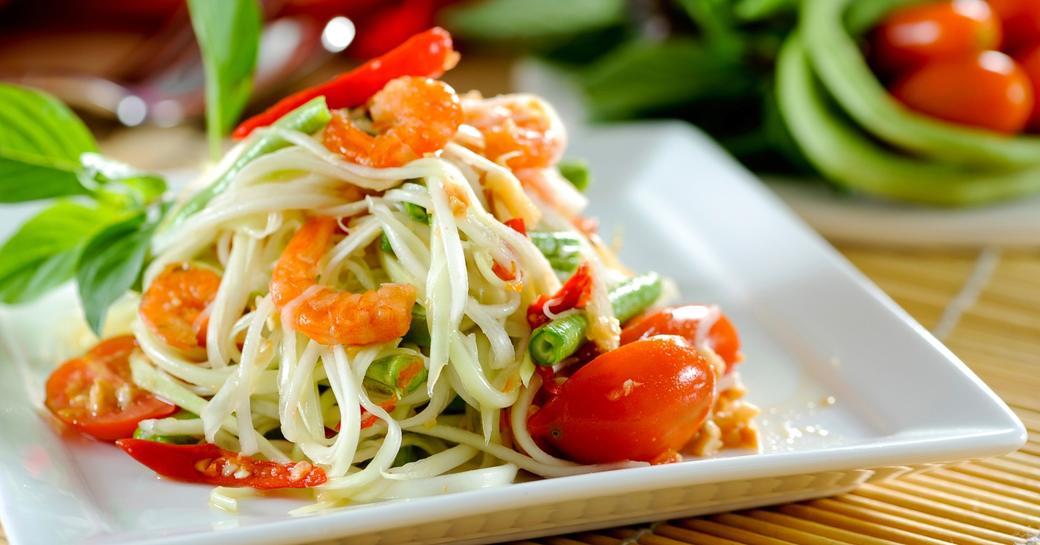 Som Tam, also known as papaya salad, is a popular Thai dish