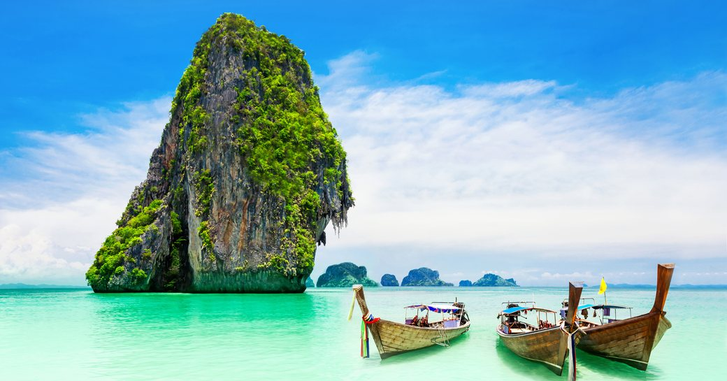 Boat on the water in the Phi Phi islands