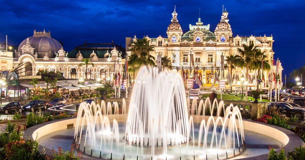 fountain in main square on monaco outside casino