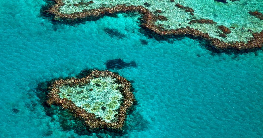 Heart Reef from the air in the Whitsundays, Australia