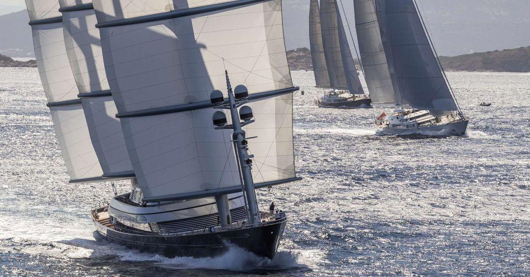 superyacht Maltese Falcon underway during the Perini Navi Cup 2018 in Porto Cervo