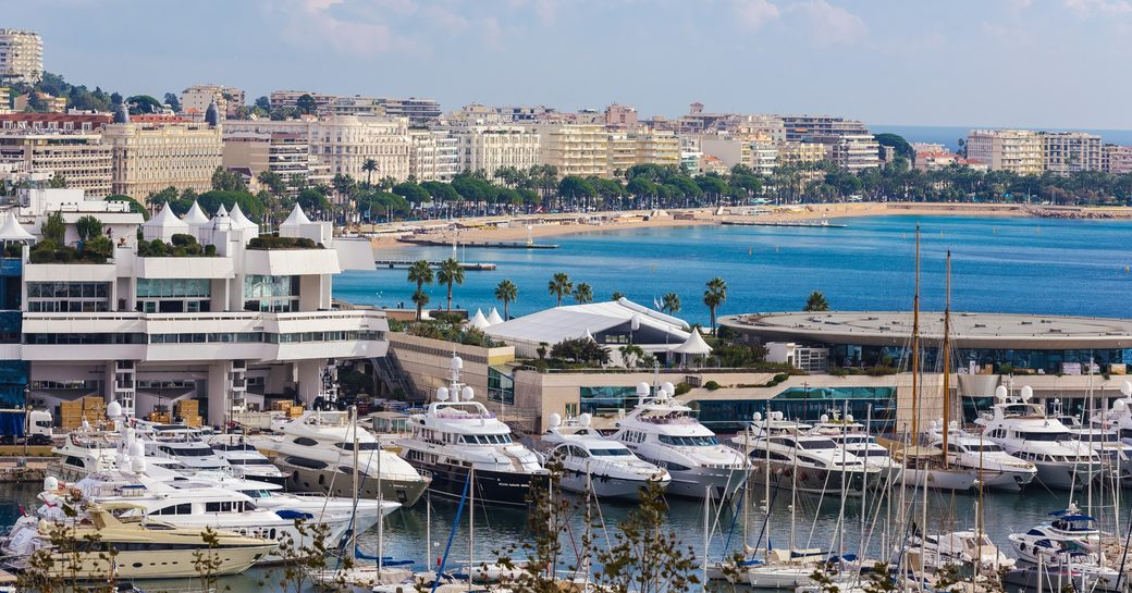 superyachts line the Jetee Edouard Albert in front of the Palais des Festivals