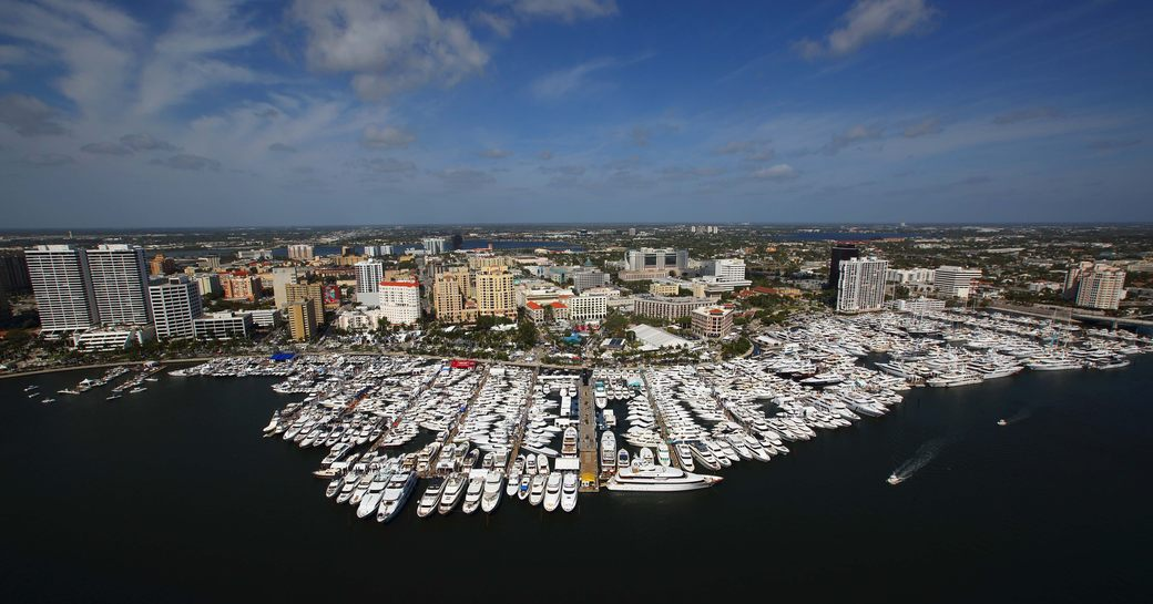 aerial shot of yachts and boats lined up in West Palm Beach for the Palm Beach Boat Show 2018