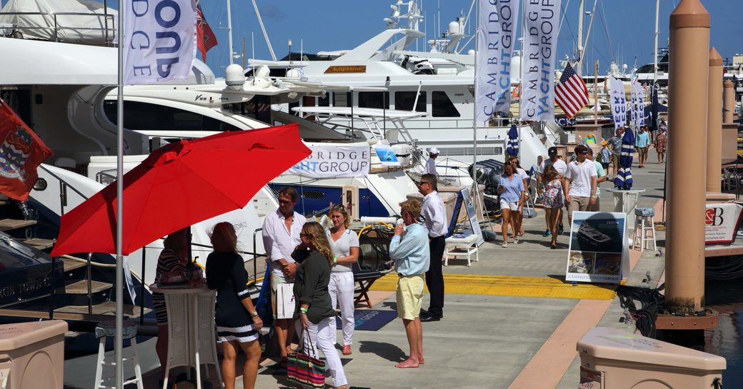 busy boardwalks at the Palm Beach Boat Show in Florida