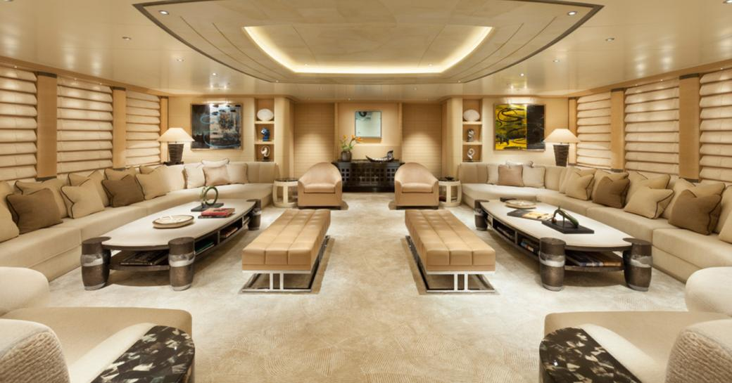 light, airy and unobstusive main salon with ample seating aboard charter yacht GRACE