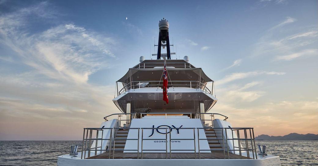 view of swim platform and stern aboard motor yacht JOY