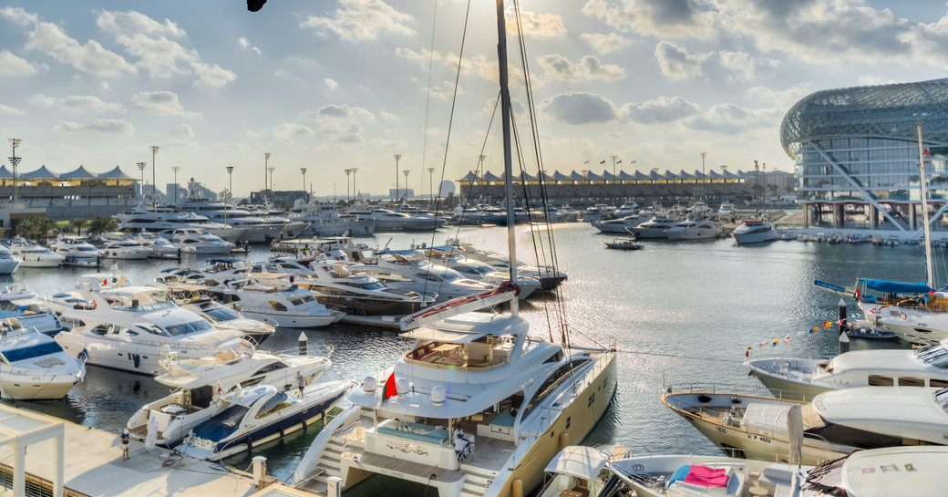yachts berth in Yas Marina for the Abu Dhabi Grand Prix
