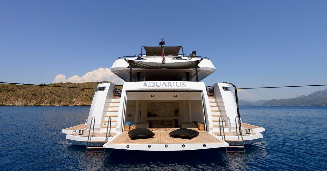 Beach club aft area of yacht Aquarius